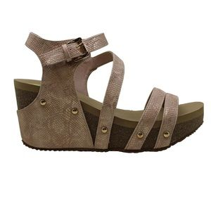 Volatile Euphoria Tan Strappy Heeled Wedge Sandals